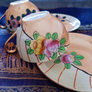 Vtg Handpainted Teacup Set of 2 (Japan)